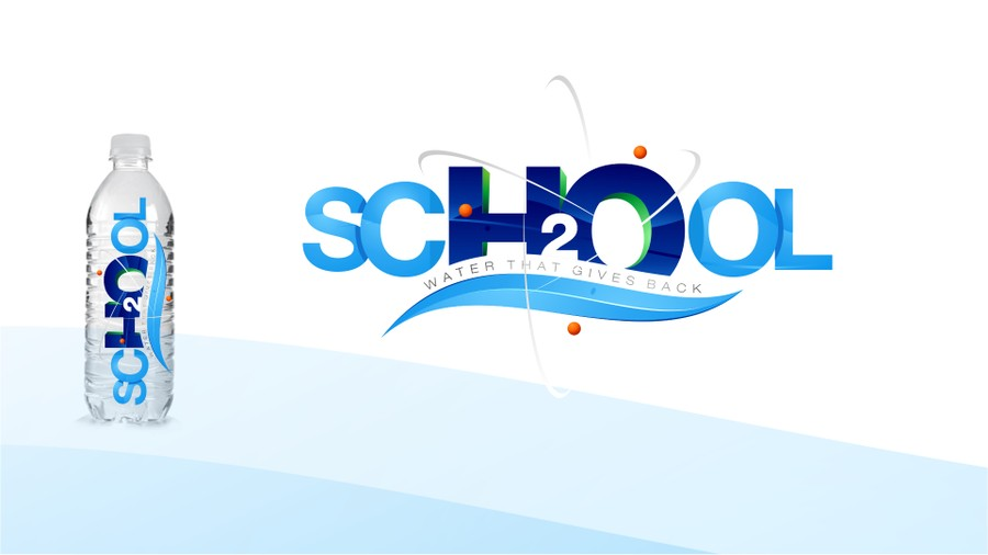 Create a logo for SCH2OOL bottled water, a brand that gives.