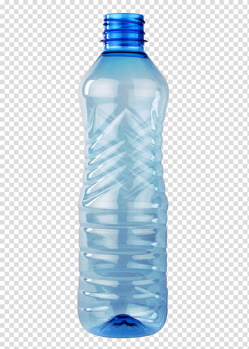 Empty clear blue plastic bottle, Plastic bottle Polyethylene.