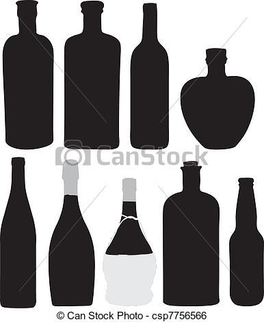 Clip Art Vector of Bottles for bottling of alcoholic beverages.