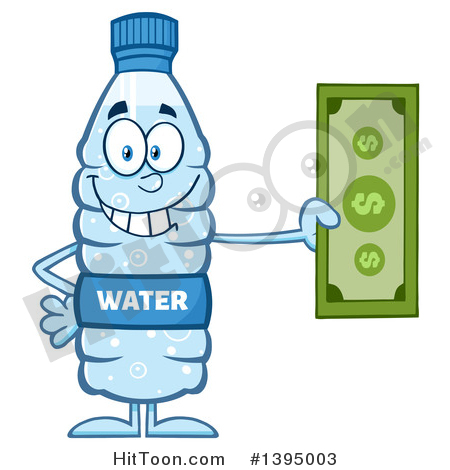 Water Bottle Clipart #1395003: Cartoon Bottled Water Mascot.