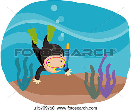 Clip Art of diving, character, bottom of sea, sea, industry.