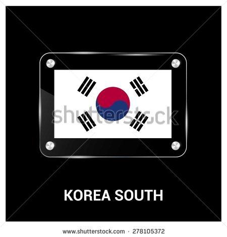 Vector South Korea Flag Glass Plate Stock Vector 278638622.