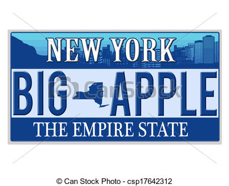 Vector Clip Art of An imitation New York license plate with text.