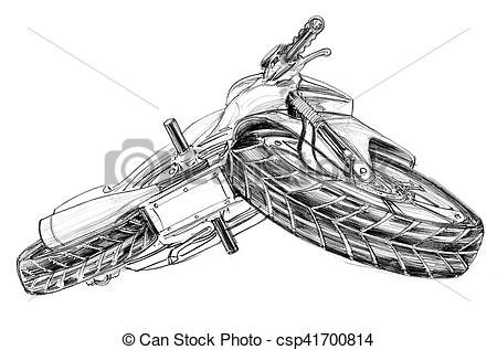 Clipart of Big bike bottom view and turn left pencil free hand.