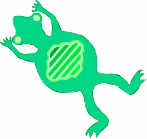 green flat frog swimming clip art in bottom view.