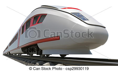 Clipart of Long train on white, bottom view.