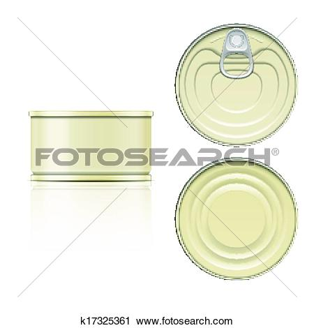 Clipart of Tin can with ring pull: side, top and bottom view.