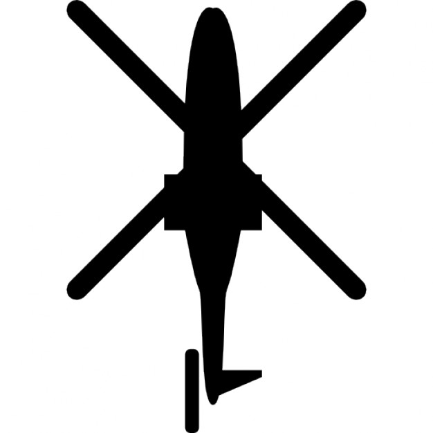 Helicopter bottom view silhouette Icons.