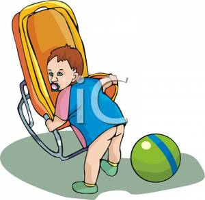 A_Bare_Bottomed_Toddler_Holding_Onto_a_Baby_Carrier_Royalty_Free_Clipart_Picture_100905.