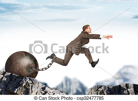 Pictures of Man hopping over bottomless pit.