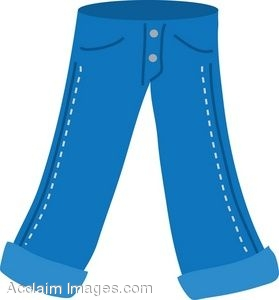 Clip Art of a Pair of Jeans.