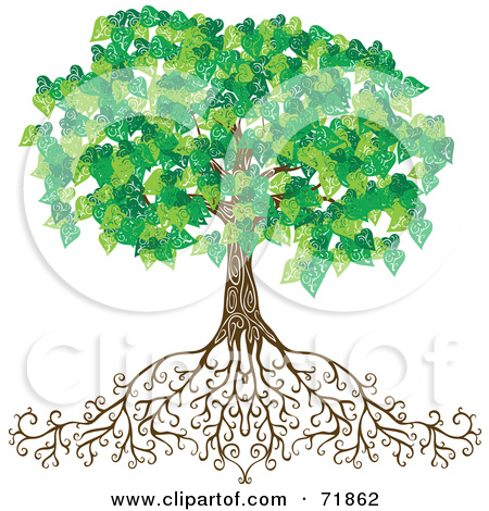tree with long roots clipart #11