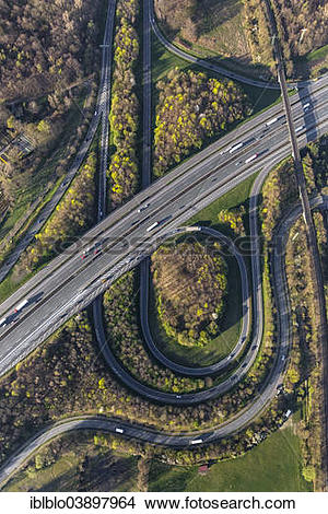 "Stock Photo of ""Aerial view of the A2 and A31 motorway junction."