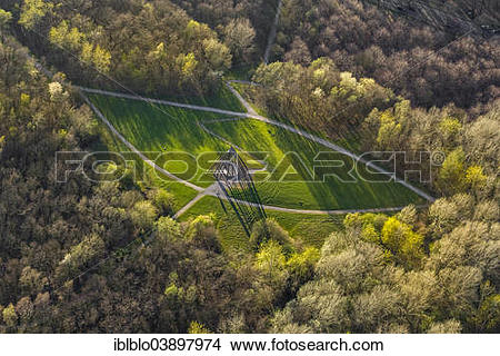 """Stock Photo of """"Aerial view, a wooden pyramid casting shadows."""