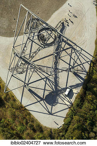 """Picture of """"Aerial view, Batenbrockhalde pithead stocks with the."""