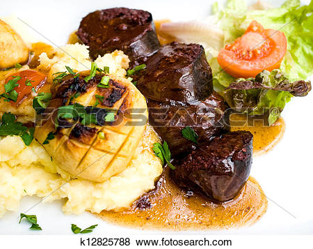 Pictures of Traditional French cuisine Boudin Noir k12825788.