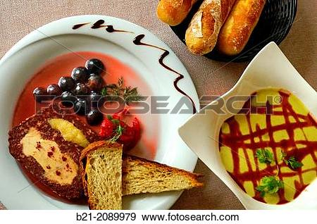 Stock Photograph of France. Foods. Boudin au foie gras et pomme.