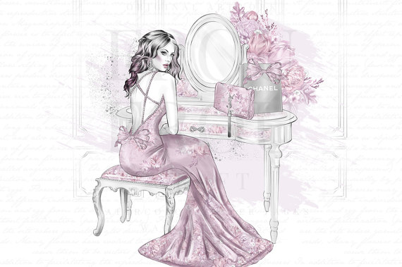 Make Up Clipart Watercolor Fashion Illustration Planner Girl.