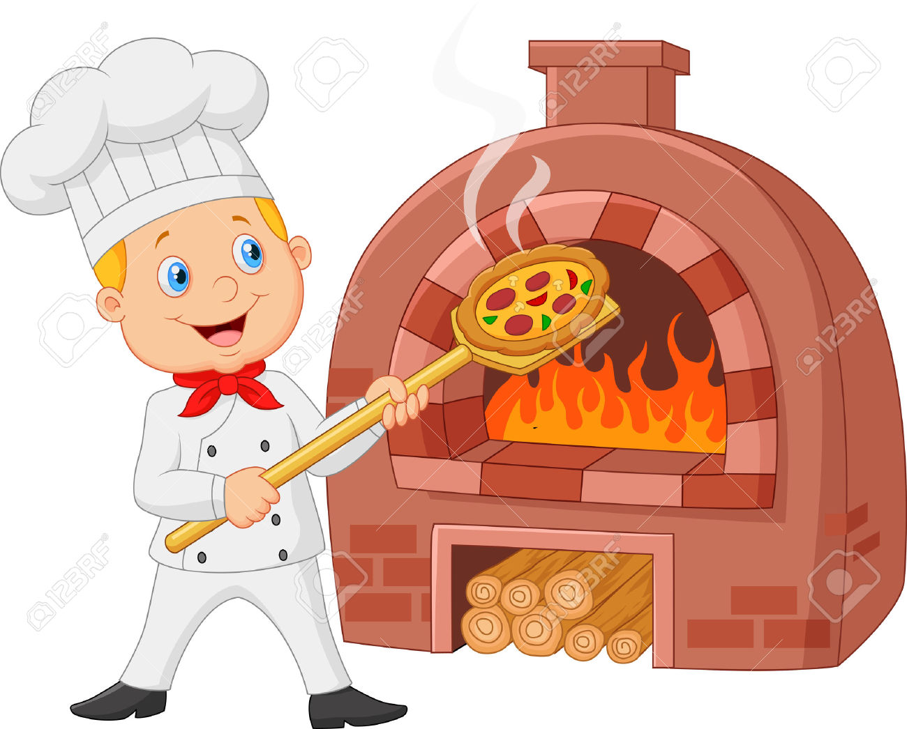 Cartoon Chef Holding Hot Pizza With Traditional Oven Royalty Free.