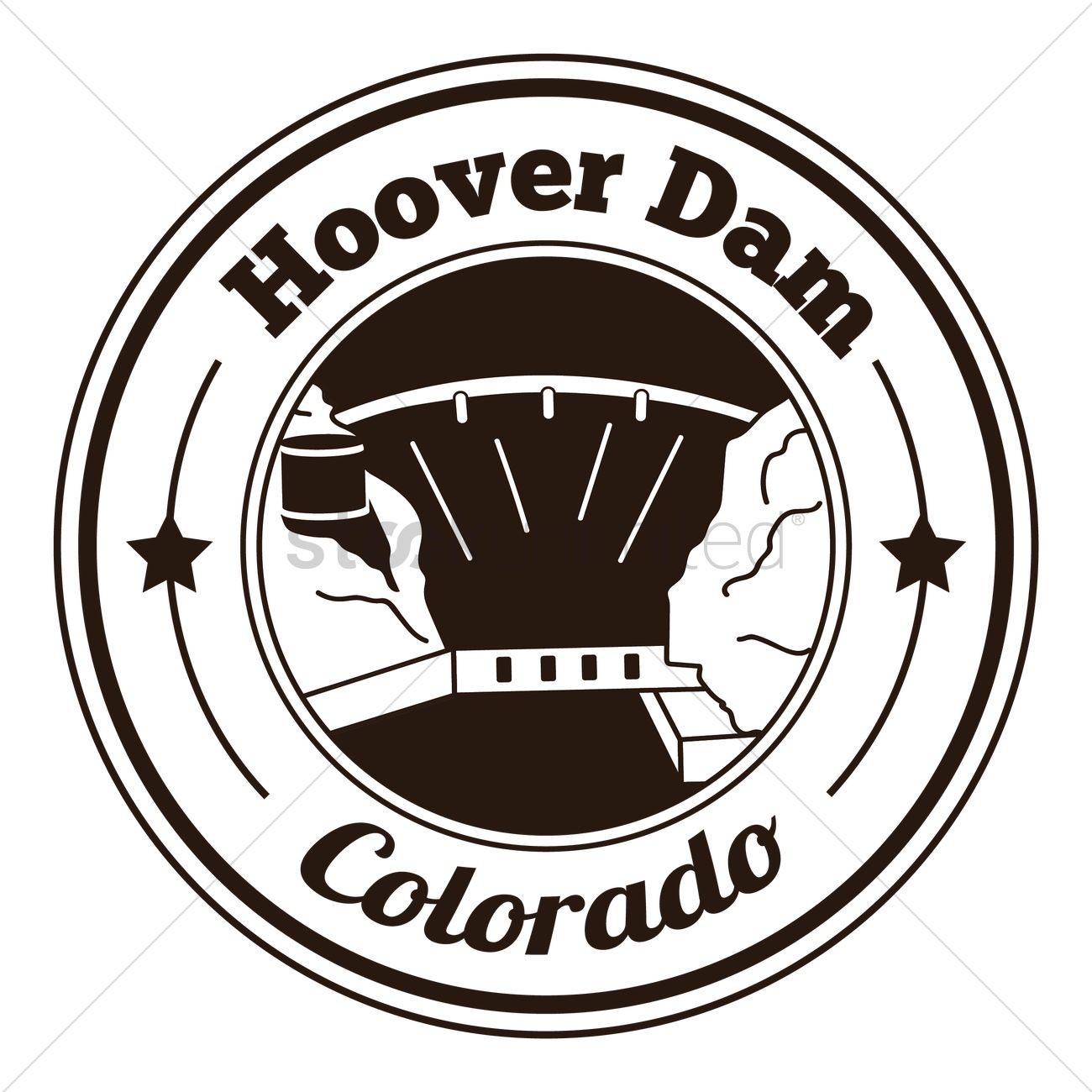 Hoover dam label Vector Image.