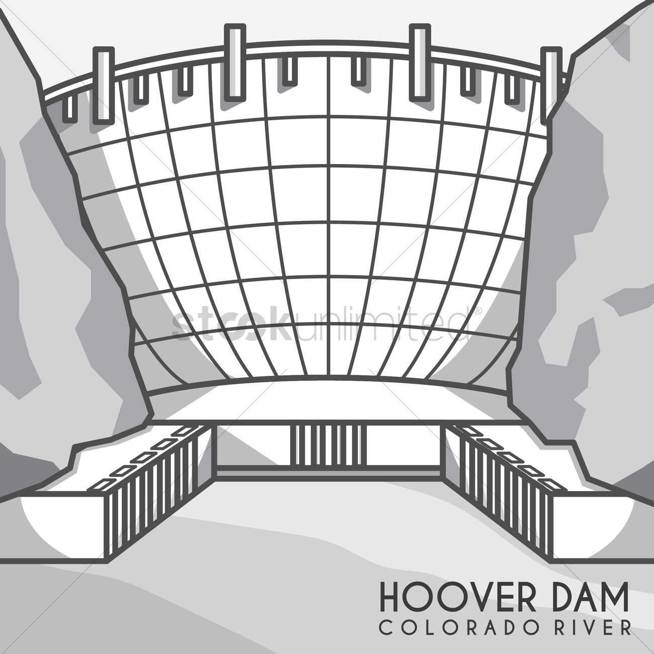 Hoover dam Vector Image.