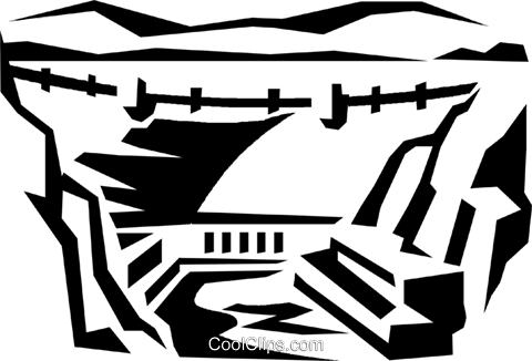 Hoover dam Royalty Free Vector Clip Art illustration.