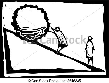 Clipart Vector of Pushing a Boulder.