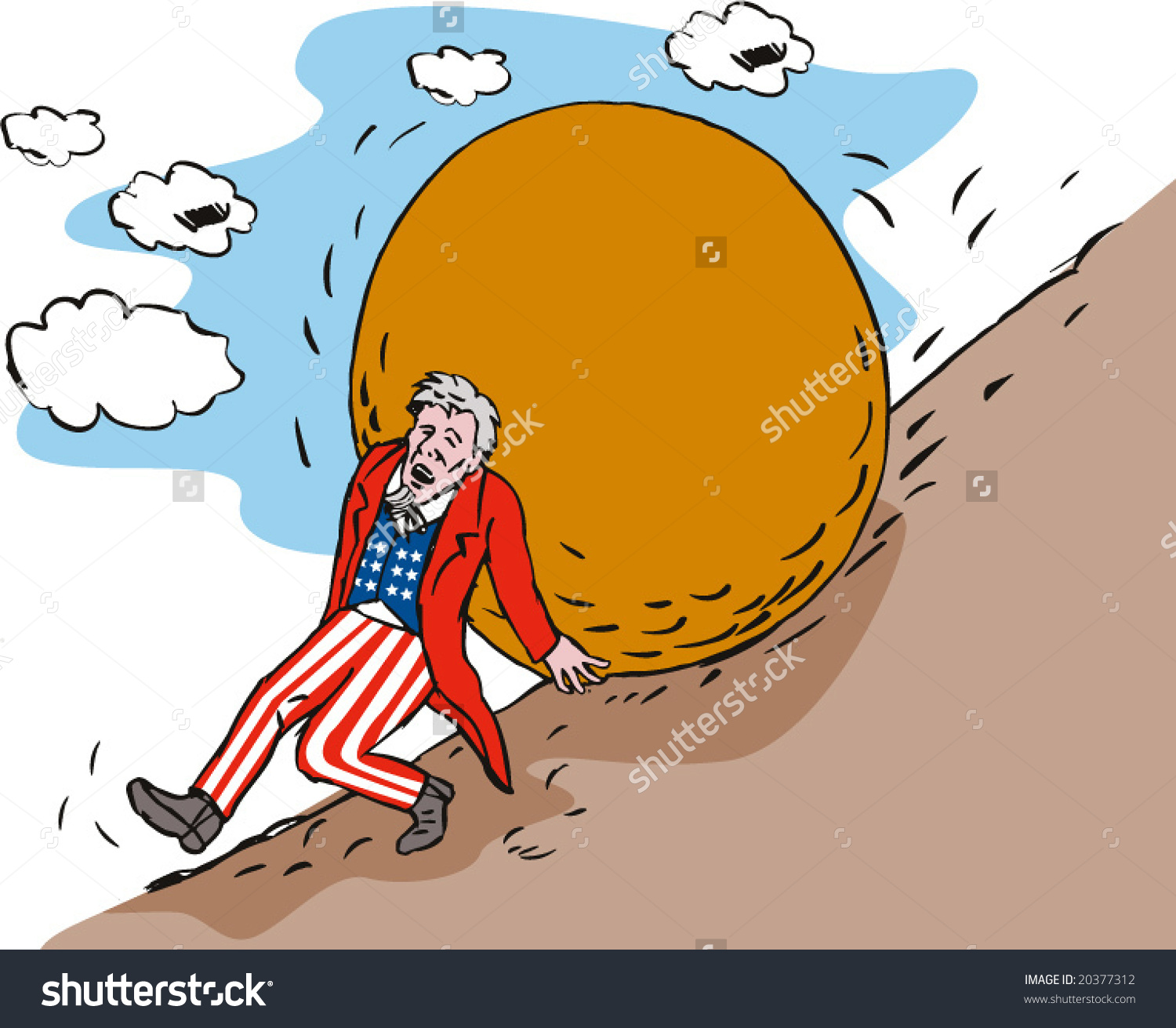 Uncle Sam Pushing Boulder Hill Stock Vector 20377312.