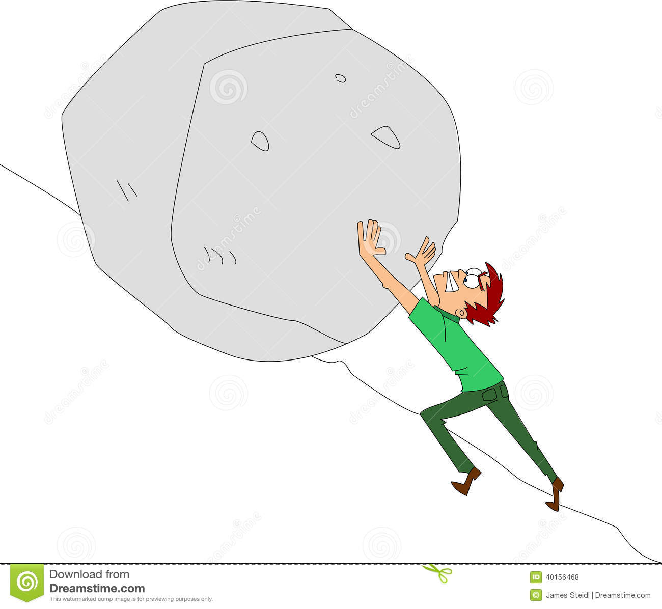 Push On Rock Clipart.