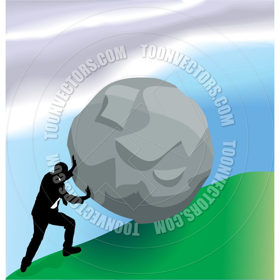 Man Pushing Boulder Up Hill Business Concept Illustration by.