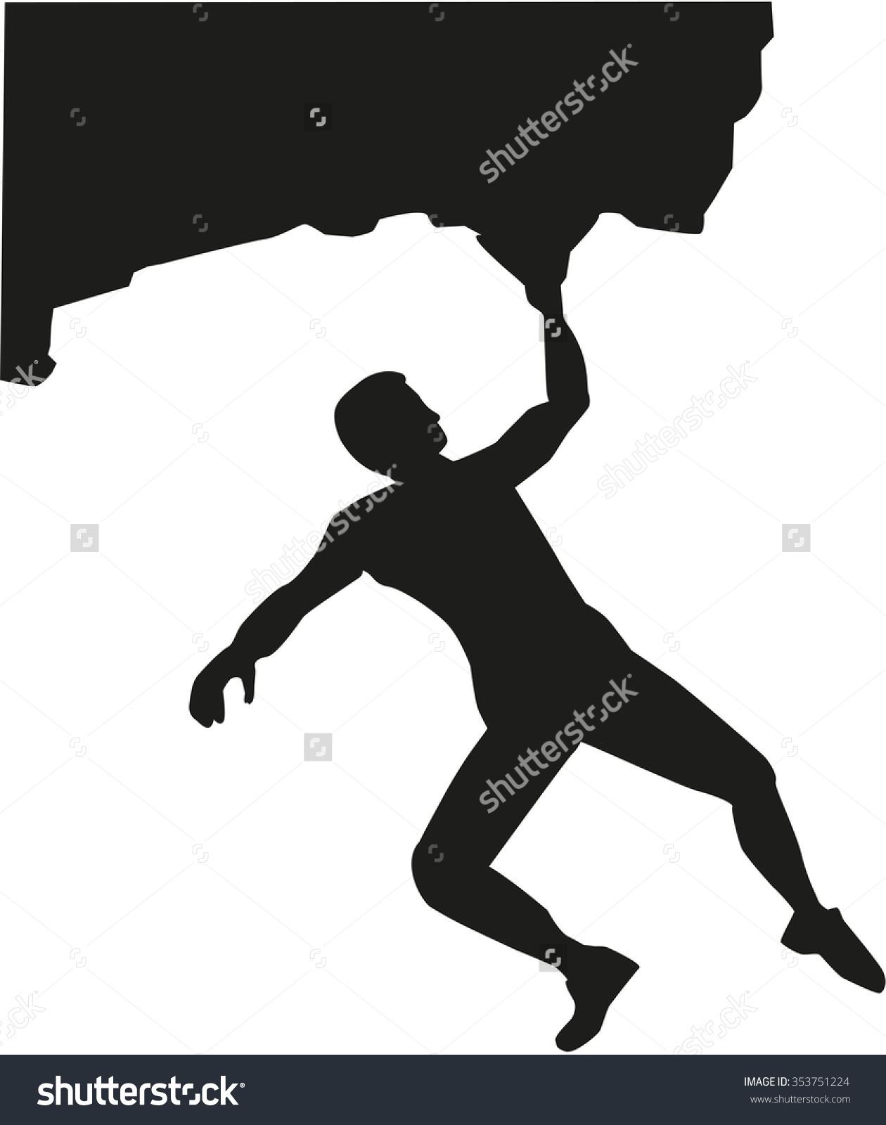 Man Bouldering Rock Stock Vector 353751224.