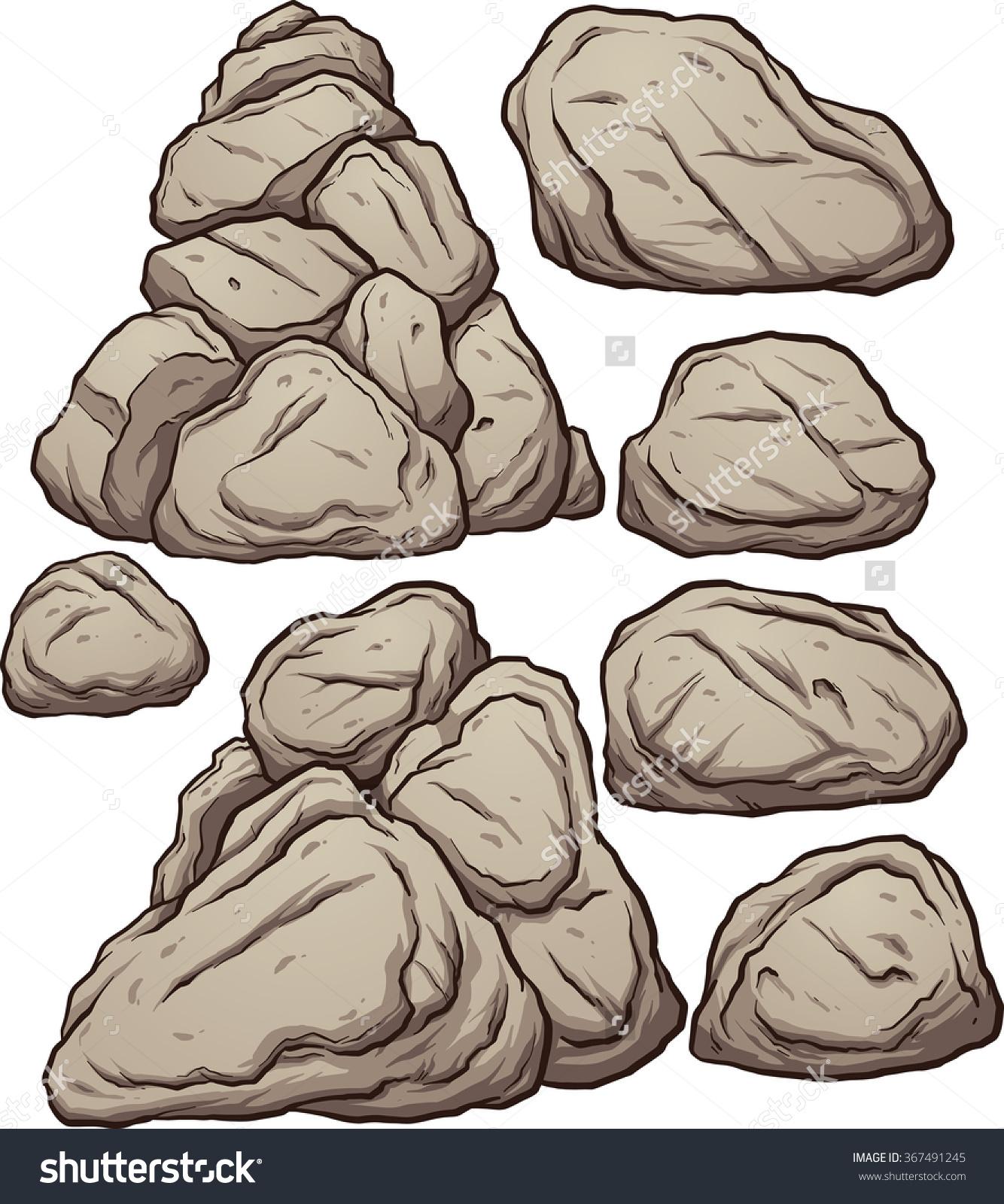 Cartoon Boulders Vector Clip Art Illustration Stock Vector.