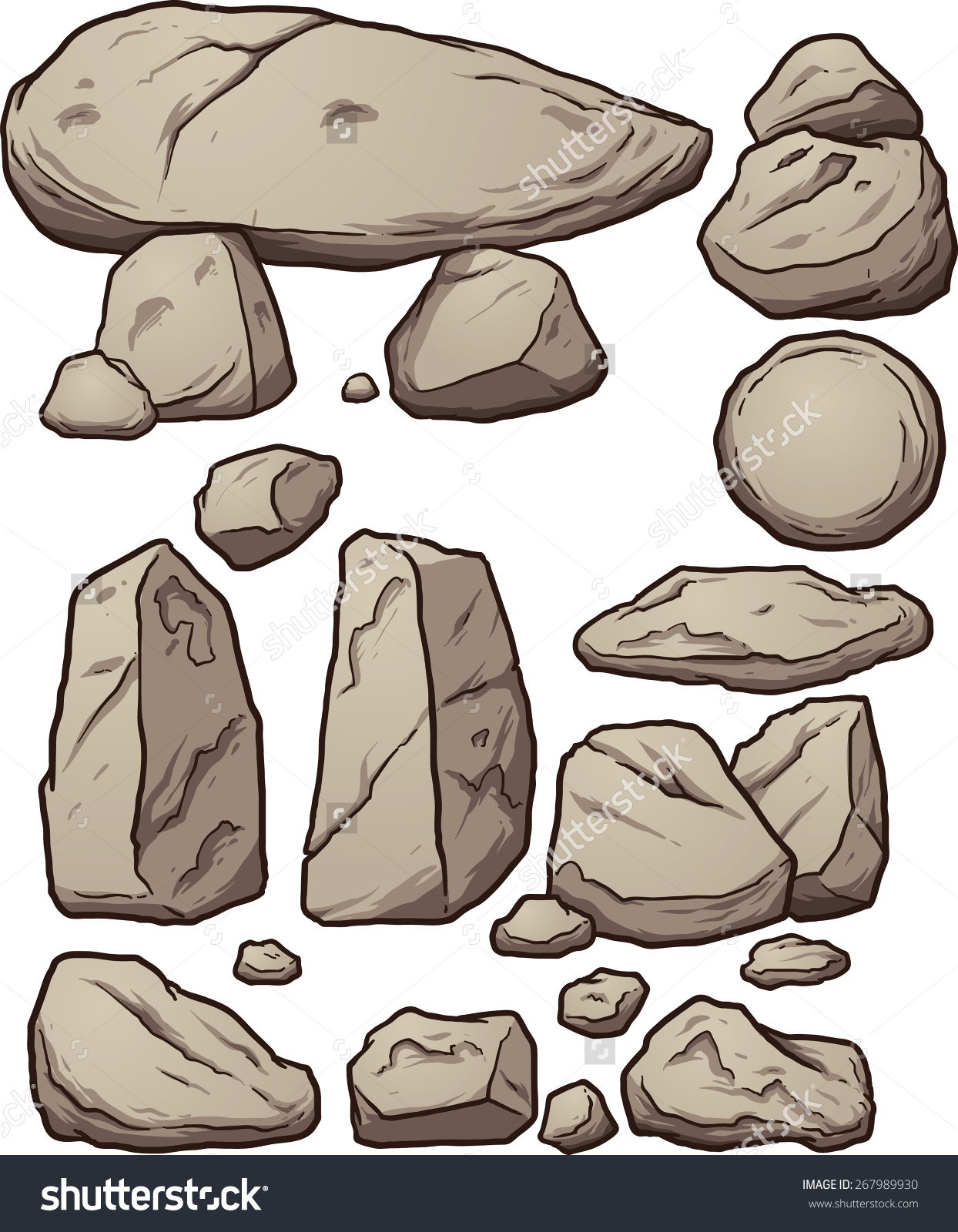 Cartoon Boulders Vector Clip Art Illustration Stock Vector.