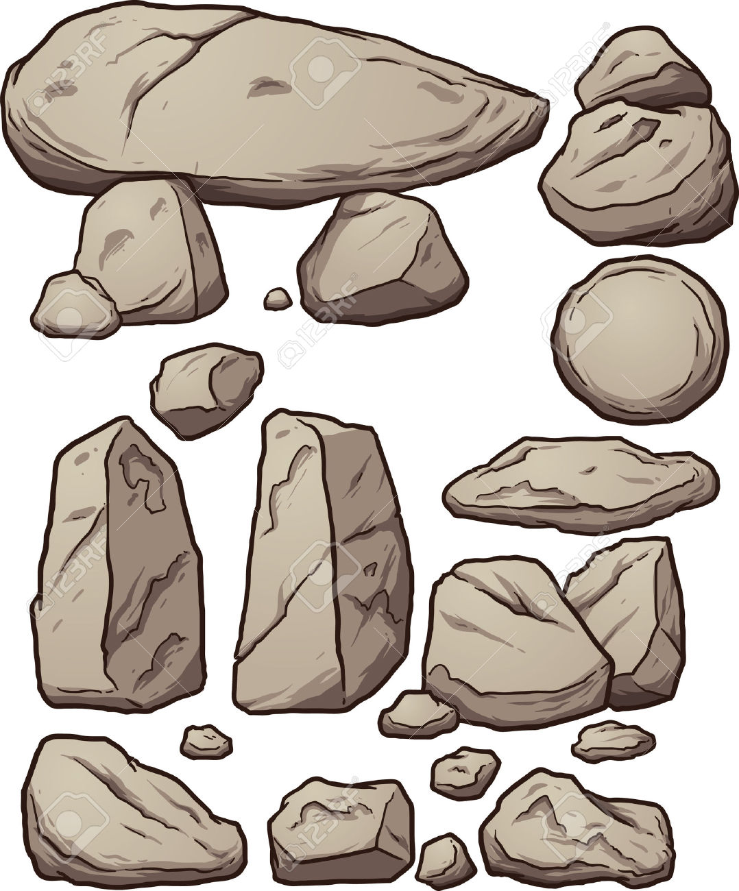Cartoon Boulders. Vector Clip Art Illustration With Simple.