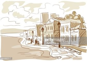 Sketch of A City Street, Boulevard Stock Vector.