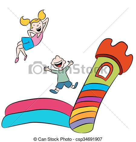 Vector Clipart of Bounce House Kids.