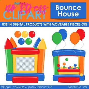 Bounce House Clip Art Blue Set (Digital Use Ok!).