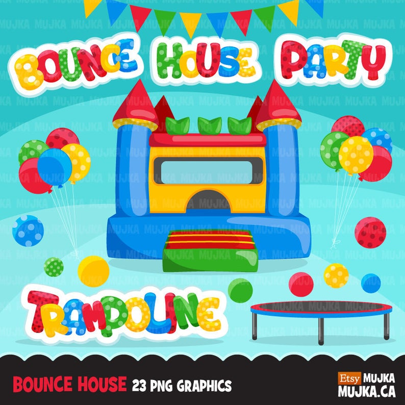 Bounce House Clipart, trampoline birthday party, planner stickers, baby  shower, balloons, bounce castle graphics, birthday bunting banner.
