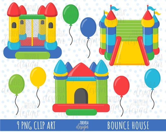 50% sale BOUNCE HOUSE clipart, party clipart, bounce castle clipart,  commercial use, balloons clipart, cute clipart, party images, bouncing.
