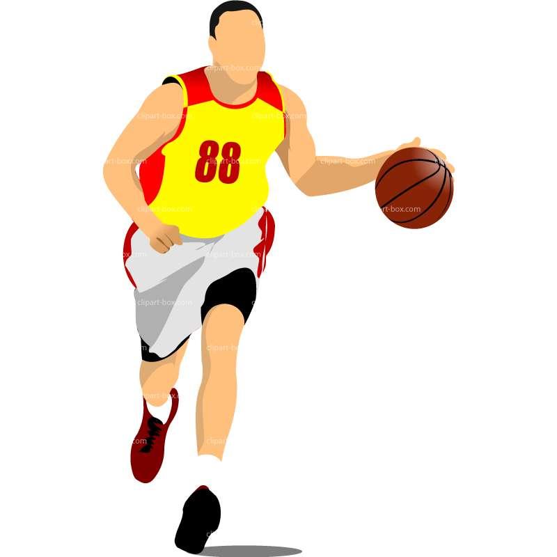 Basketball Player Dribbling Clipart.