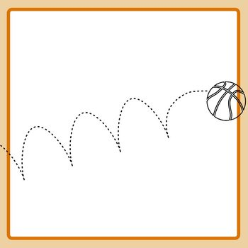 Bouncing Basketball Dotted or Dashed Tracing Lines Clip Art Commercial Use.