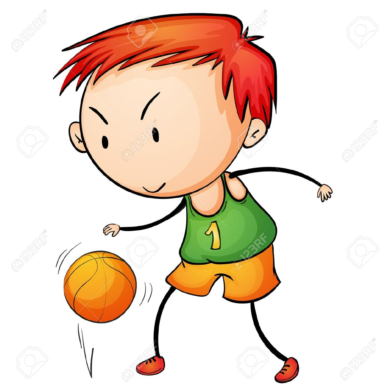 Boy bouncing a ball clipart.