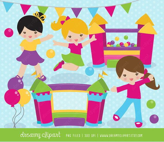 bounce house clipart / Ball Pit clipart / bounce house clip art.