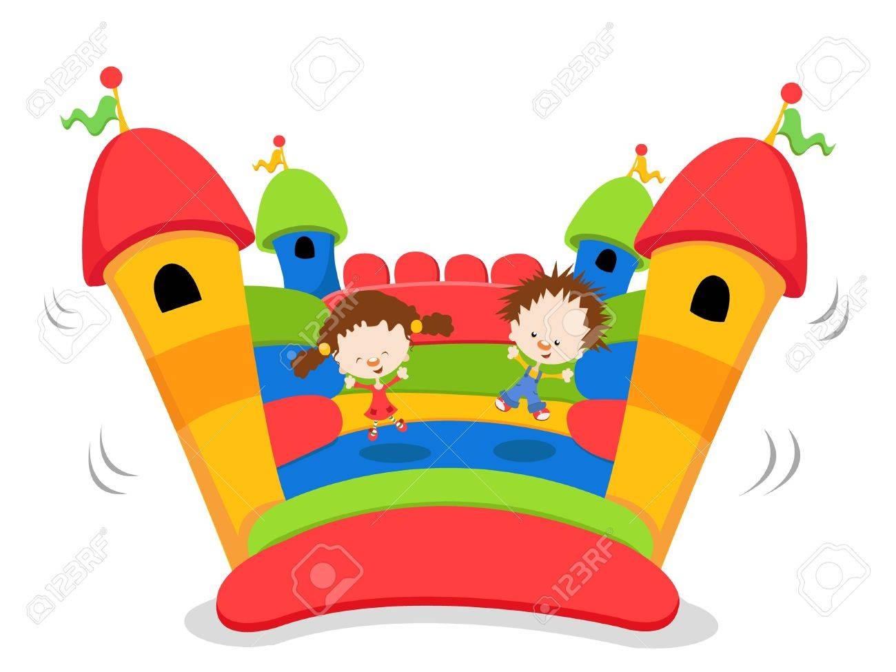 Kids Playing On Bouncy Castle.