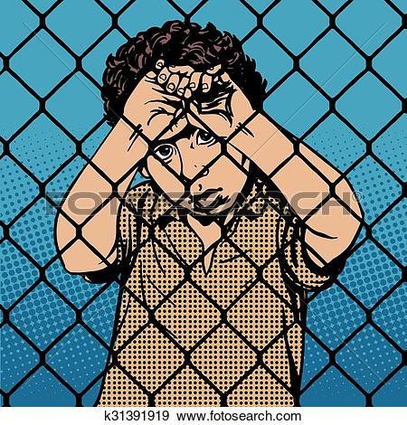 Clip Art of Child boy refugee migrants behind bars the prison.
