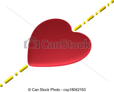Stock Illustration of Heart, boundary isolated on white.