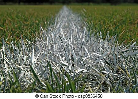 Stock Photography of Closeup of boundary line on a football field.
