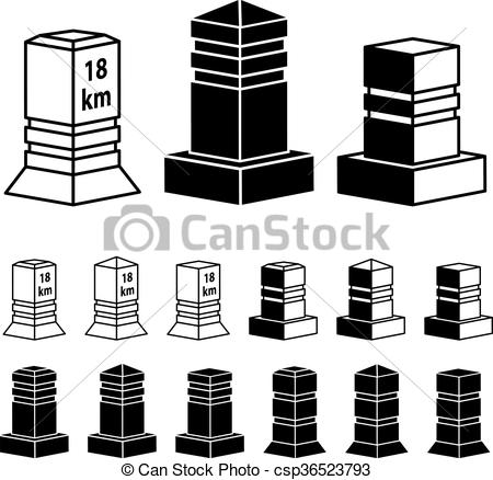EPS Vectors of 3d milestone boundary stone black symbols.