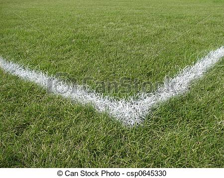 Stock Photography of Corner boundary line of a playing field.