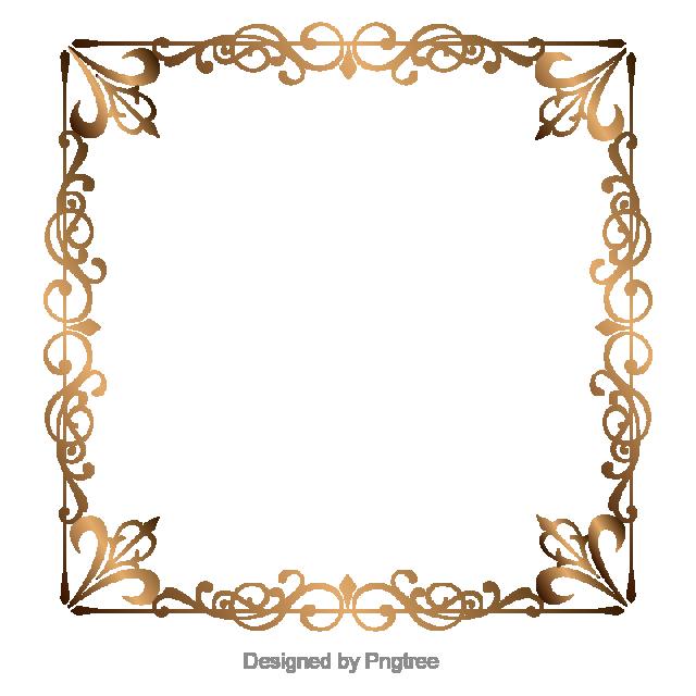 Gold Retro Decorative Border, Golden Border, Border Vector, Boundary.